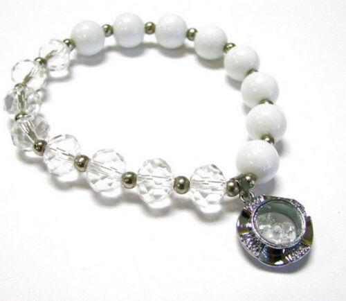 April Birthstone Diamond Clear Glass Beaded Stretch Bracelet New gift bag