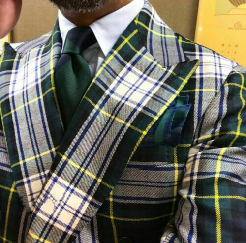 Men/'s Windowpane Double breasted Formal Wide Lapel Suit Party Prom Blazer Custom
