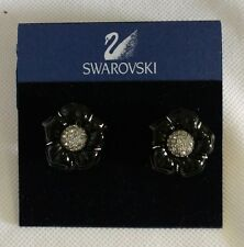 "Swarovski Crystal Clip-On Earrings Black floral 1"" regular $145 elegant button"