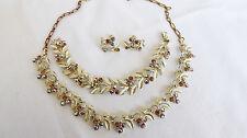 Vtg Amber AB Rhinestone Gold Textured Leaf Necklace Bracelet Earrings Set