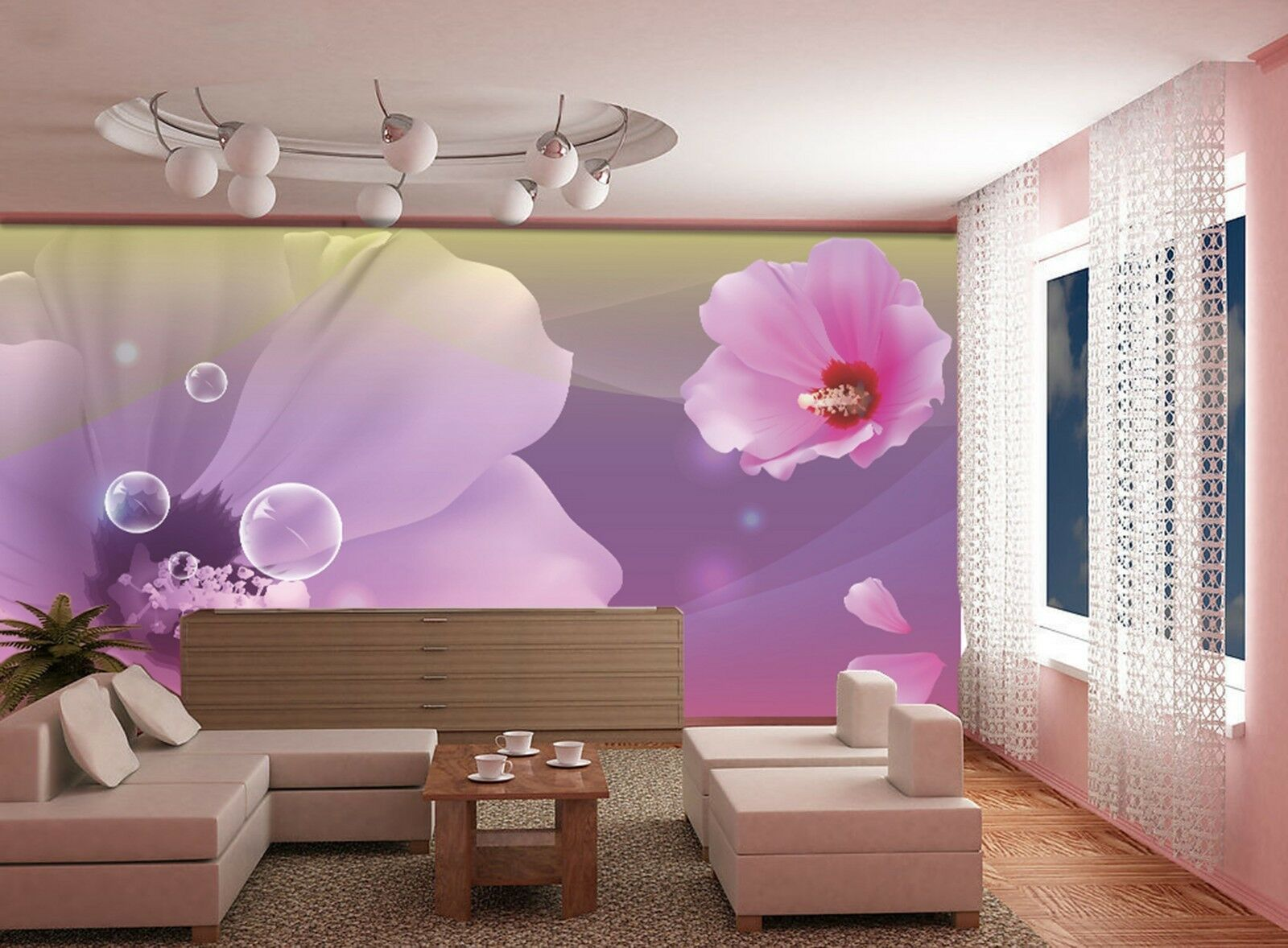 3D Flowers bubble Wall Paper Print Decal Wall Deco Indoor wall Mural