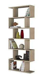 Ciara living room 6 tier bookcase room divider display shelf unit in oak ebay for Oak shelving units living room