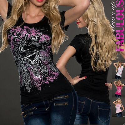 Sexy Womens Glamour Tops Heart Tattoo Print Shirt Casual Size 4 6 8 10 12 S M L