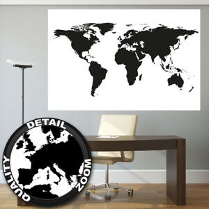 xxl poster weltkarte schwarz wei wandbild landkarte kontinente map 140 x 100 cm ebay. Black Bedroom Furniture Sets. Home Design Ideas