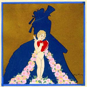 1930s-French-Pochoir-Max-Ninon-Print-Art-Deco-Lovers-Wedding-Kiss-Cherub-Heart