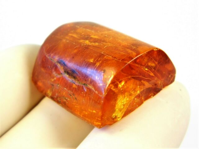 Genuine vintage Baltic Amber cabochon stone old 5.9 grams transparent 3161
