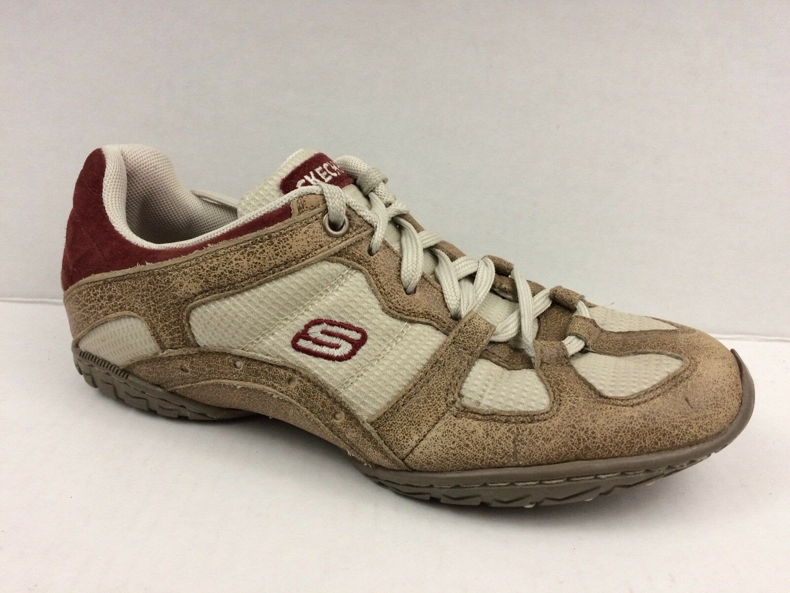 Skechers Womens 6.5 M Walking shoes Casual Sneakers Suede Leather Tan Berry Red