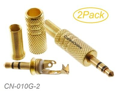 """CN-010D-2 2-Pack Premium 3.5mm 1//8/"""" Stereo TRS Gold Male Connectors"""