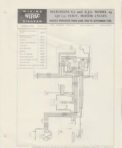 details about wipac wiring diagram matchless g2 \u0026 ajs model 14 250cc ohv motorcycles Electrical Wiring