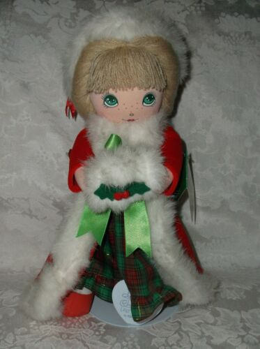 Precious Moments 1988 Samuel J Butcher 'Christmas Dreams' Doll wStand