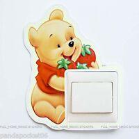 Winnie The Pooh Strawberry Light Switch Wall Stickers Glow in The Dark Kids Room