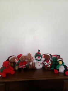 TY Beanie Babies Christmas lot Mistletoe, Yummy, Kringle, Rooftop, Snowgirl +