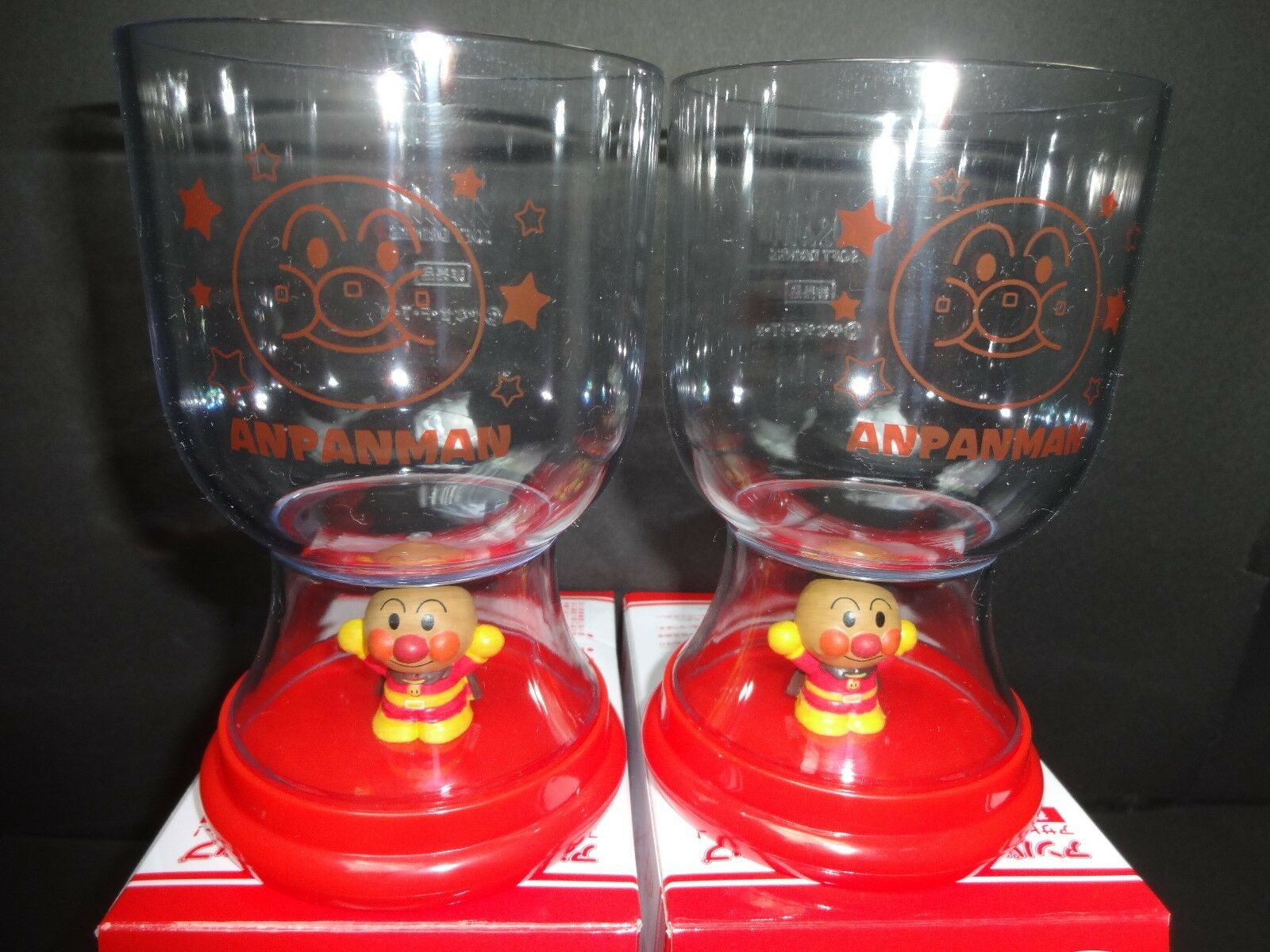 RARE   ANPANMAN Figure Cup Glass 2 SET Not sold in stores FREE SHIPPING JAPAN