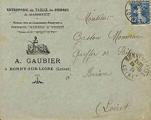 45 Bonny-sur-loire Enveloppe Gaubier Taille De Pierres Marbrerie 1924 Yckpvpod-08010210-842965436