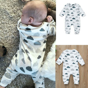 Newborn-Infant-Baby-Kid-Boys-Girls-Clouds-Print-Rompers-Jumpsuit-Outfits-Clothes
