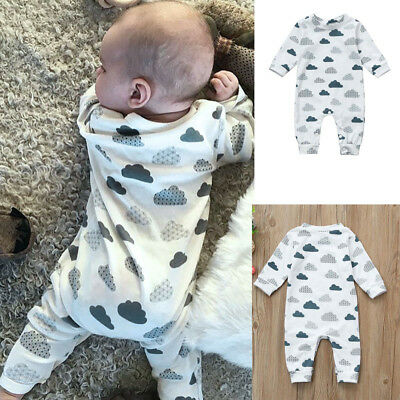 Newborn Infant Baby Girls Boys Cartoon Clouds Print Rompers Jumpsuit OutfitS