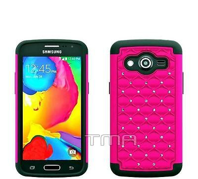 Samsung Galaxy Core LTE SM-G386W Heavy Duty Layer Hybrid Case - Hot Pink Bling