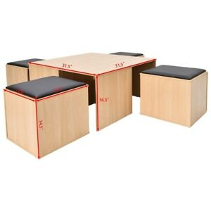 Outstanding Details About 5Pcs Wood Dining Table Set W 4 Storage Ottoman Stool Chair Seat Space Saving Us Machost Co Dining Chair Design Ideas Machostcouk