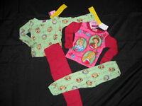 2 Disney Princess Christmas Holiday Pajamas Pjs Lot 2t Cinderella Belle
