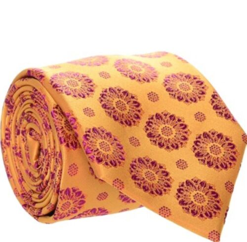 DUCHAMP LONDON  ORANGE & FUCHSIA FLOWER SILK TIE