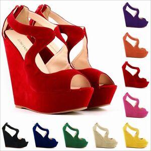 Women-039-s-Wedges-Platforms-Shoes-Peep-Toes-Pumps-Suede-Fabric-Sandals-AU-Size