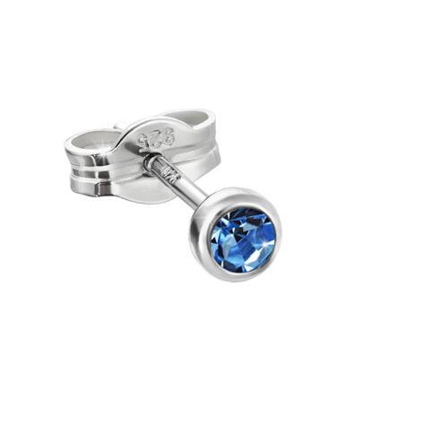 Einzel Ohrstecker 925er Sterlingsilber 3,50mm hellblau Zirkonia Ohrring F17