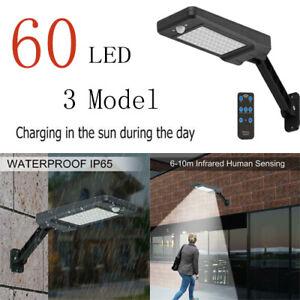 60-LED-Solar-Power-PIR-Motion-Sensor-Garten-dimmbar-Wandleuchte-Wasserdicht-Licht