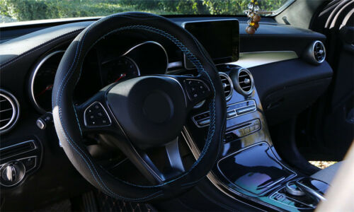 "15/"" Blue /& Black Stylish Anti-slip Embossing Car Steering Wheel Cover Protector"
