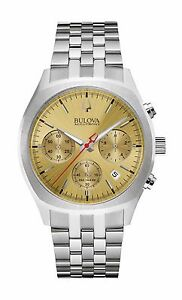 Bulova-Accutron-II-Men-039-s-96B239-Quartz-Surveyor-Chronograph-Gold-Tone-Dial-Watch