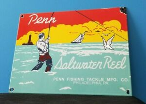 VINTAGE-PENN-FISHING-REELS-PORCELAIN-GAS-OIL-TACKLE-SALES-SERVICE-LURES-SIGN