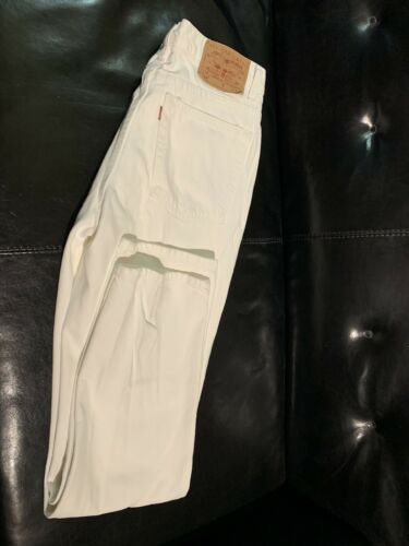 Vintage Womens Levis 512 White Jeans Slim Fit Stra