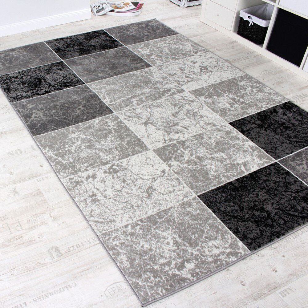 Tappeto moderno geometrico nero e grigio Controllare TAPPETO SALOTTO Mats piccole grandi XL