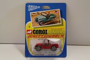Corgi Junior No: 5 - Rouge (non ouvert / original de 1970) willys Jeep