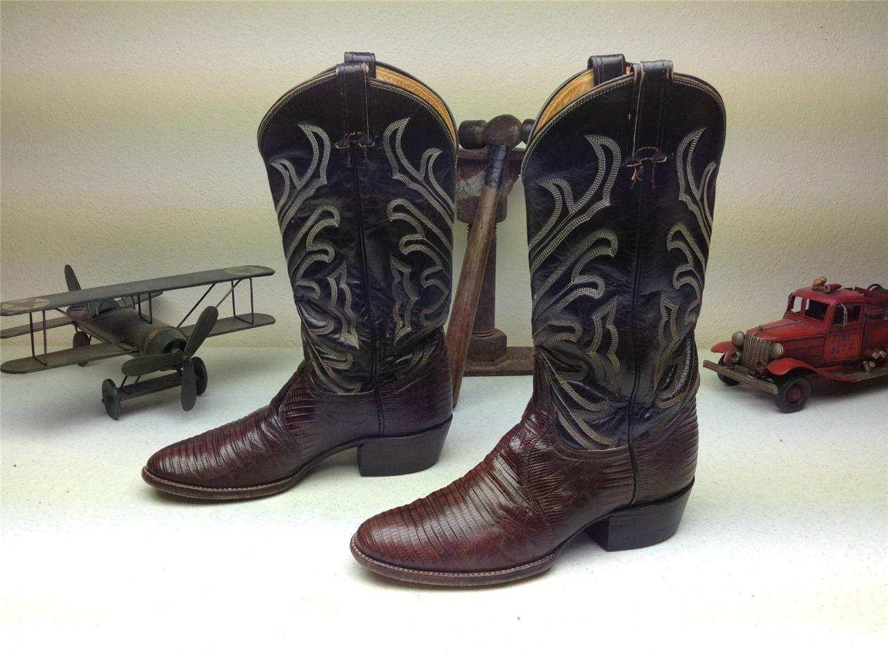 Vintage Tony Lama marrón Lagarto De Cuero Envejecido occidentales Dance botas Β
