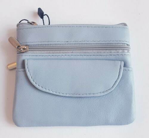 New Small Leather Purse Card//Note//Coin Button//Zip Yellow Blue Green Red Black