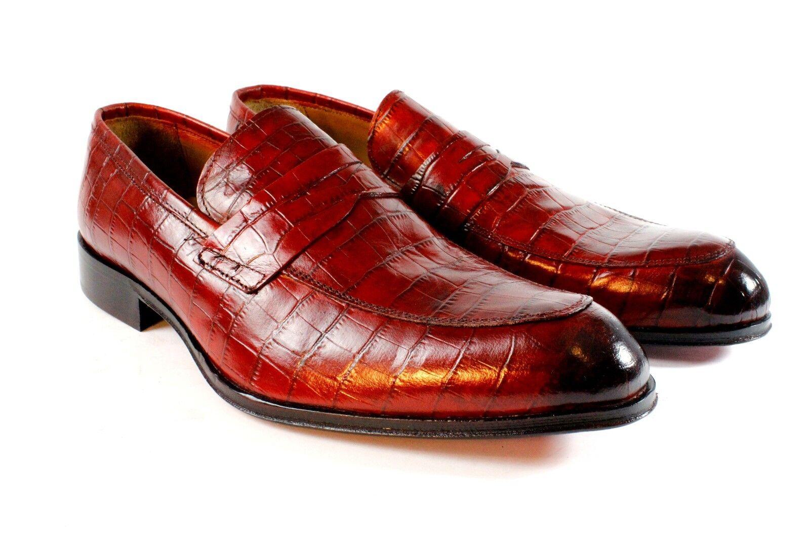 Ivan Troy Rojo Cocodrilo Hecho a Mano Cuero Italiano Zapatos Vestido Mocasín