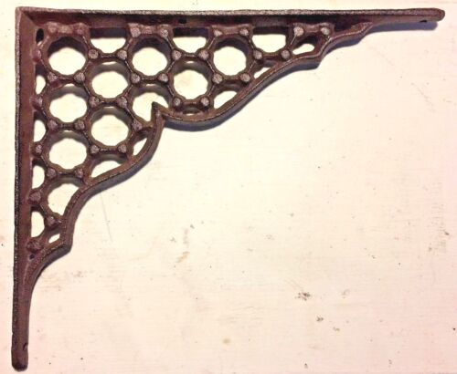 SET OF 2 LARGE HONEYCOMB LATTICE SHELF BRACKET BRACE Rustic Antique Brown Iron