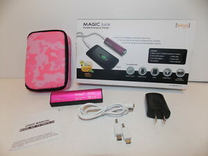 Magic-Juice-3000-mAh-Portable-Device-Tablet-and-Phone-Charger-Pink-NEW