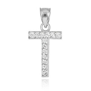 Fine 10k white gold letter t initial pendant necklace with image is loading fine 10k white gold letter 034 t 034 mozeypictures Choice Image
