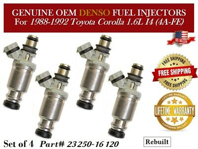 Denso Fuel Injectors Set for 1990-1993 Toyota Celica 1.6L 1991 1992 90 91 92 1.6