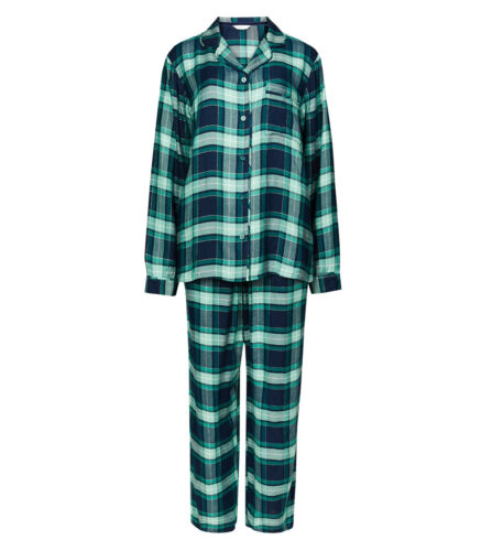 Ex M-S Ladies Checked Long Sleeve Pyjama Sets 2 Colours Size 6-22