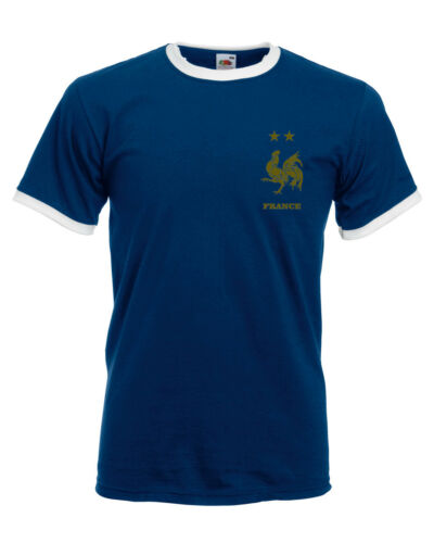 Retro French GOLD PRINT Football Shirt World Cup France Vintage 2018 Winners
