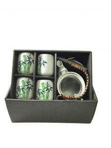 Japanese-Green-Bamboo-Design-Tea-set-1-pot-and-4-Cups-in-Gift-Box-Teaset-Filter