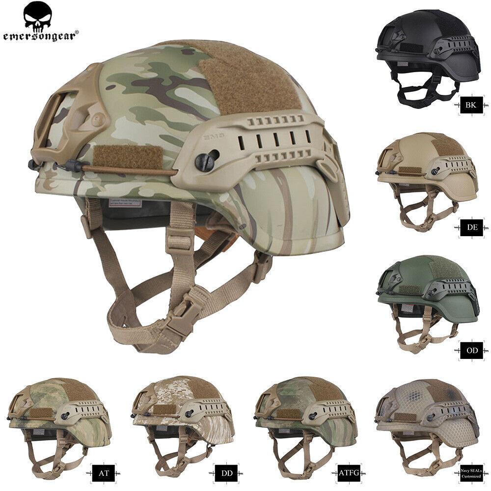 Emerson Tactical ACH MICH 2000 Helmet Ear Flaps Helmet w NVG Shroud & Side Rail