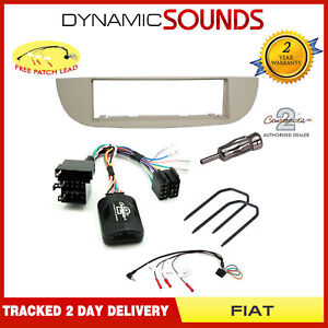 Car-Stereo-Fitting-Kit-Ivory-Fascia-Stalk-Aerial-Adaptor-For-Fiat-500-2008-gt