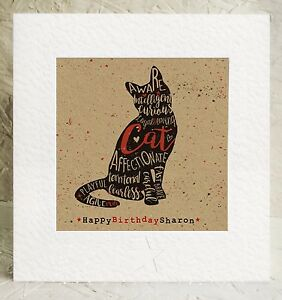 Image Is Loading Personalised Cat Lovers Birthday Card Kitten Pussy