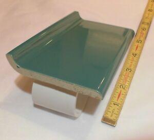 1-pc-Glossy-Pine-Green-4-X-6-Ceramic-Cove-Base-Tile-Bullnose-Top-034-NOS-034