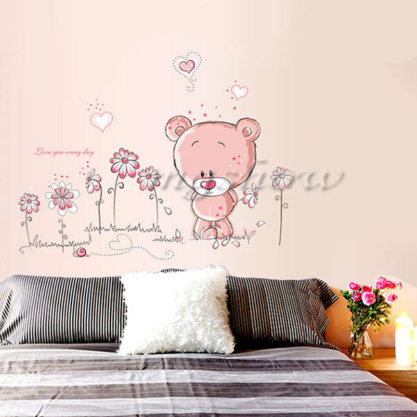 Pink Bear Wall Sticker Home Docor Decals Nursery Girl Kid Room Baby Removable