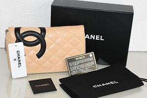 NEW-CHANEL-Cambon-BEIGE-Black-Calfskin-Timeless-Clutch-Wallet-Purse-Zip-Around