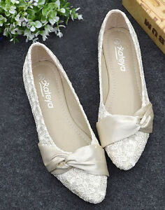 Details about Womens Lace Bowknot Flat Heel Wedding Bridal Shoes Ballet Pointed Flat Shoes